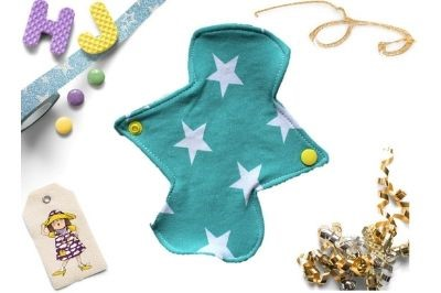 Click to order  Single Cloth Pad Mint Stars now